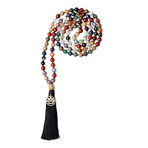 coai Unisex Handgeknüpft 108 Mala Yoga Kette Buddhistische Halskette Gebetskette aus Vielfärbigen Edelsteinen mit Quaste und Namaste Charm