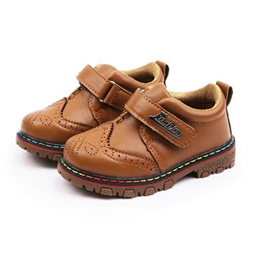 Riou Babyschuhe Unisex-Kinder Klassische Leder Schuhe Jungen Mädchen Winter Warme Vintage Britisch mit Klettverschluss Kinderschuhe für Party und Hochzeit (23, Braun)