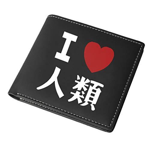 WANHONGYUE No Game No Life Anime-Druck Geldbörse für Männer Portemonnaie Kunstleder Brieftasche Schwarz