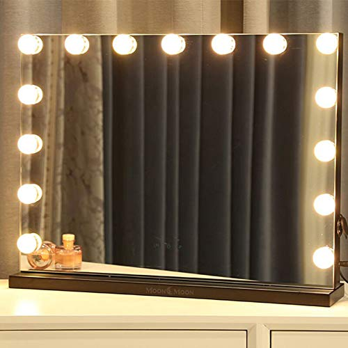 MoonMoon Hollywood Vanity Mirror with Lights,Professional Makeup Mirror & Lighted Vanity Makeup mirror with Smart Touch Adjustable LED Lights (white)