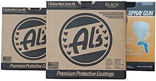 Al's Liner ALS-199 Black Premium DIY Polyurethane Spray-On Truck Bed Liner Kit with Spray Gun, Bed Liner Kit, Truck Bed Coating, Truck Bed Liner, Spray-On Kit - 2 Gallons (One Truck Kit)