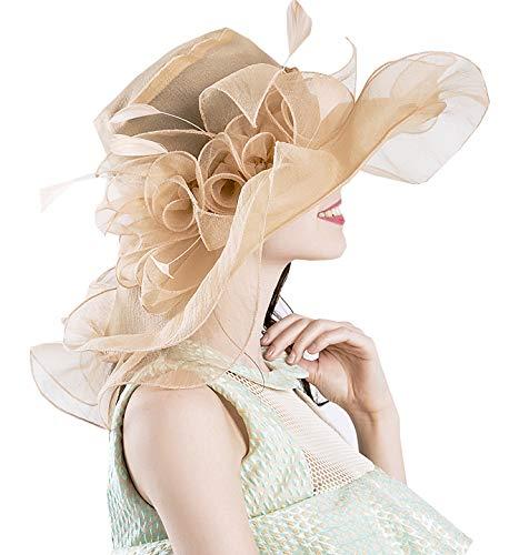 Bellady Womens Kentucky Derby Hats Cocktail Tea Party Bridal Dress Church Hat,BeigeYellow