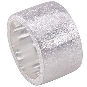 massiver Silber Ring - Goldschmiedearbeit aus Deutschland (Sterling Silber 925) 15 mm breit mattiert schlichter schwerer Ring aus Silber Damenring Herrenring Bandring außergewöhnlicher Partnerring