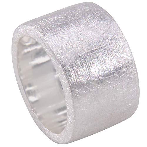 massiver Silber Ring Goldschmiedearbeit aus Deutschland (Sterling Silber 925) 15 mm breit mattiert schlichter schwerer Ring aus Silber Damenring Herrenring Bandring außergewöhnlicher Partnerring