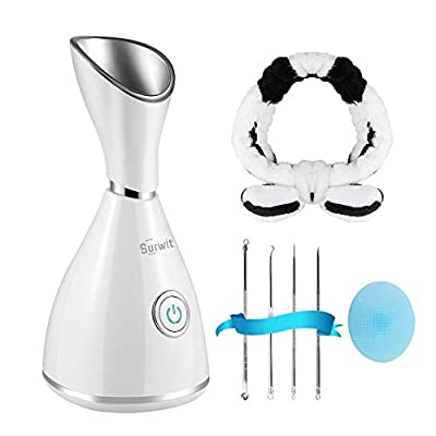 Facial Steamer - Surwit Nano Ionic Face Steamer Deep Cleaning SPA Humidifier, for Skin Moisturizing Cleansing Pores, With Blackhead Remover Kit, Hair Band, Face Brush from Surwit