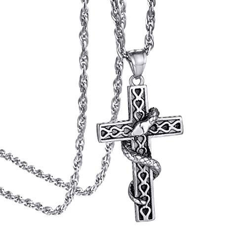 GOLDCHIC JEWELRY Vintage Serpent Cross Pendant Necklace, 316L Stainless Steel Snake Christian Jewellery