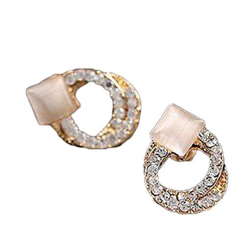 Erin Joyas Espiral Cuadrado Opal Stud Pendientes Rhinestone Inlay Gotas De Oro De Colores