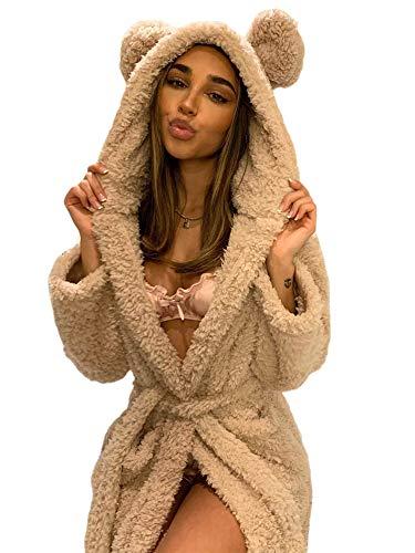 Pijamas Mujer Camisón Invierno Cálido Batas Casuales Mujer Oreja con Capucha Albornoz Bata De Felpa Cuello En V Manga Larga Chal Kimono Cálido Batas De Baño Abrigo M Caqui