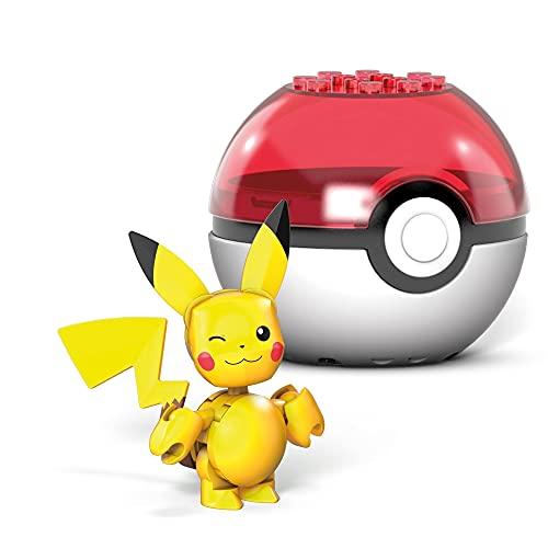 Mega Construx- Pokémon Pikachu Poké Ball y Figura para Construir, 16 Piezas, Multicolor (Mattel GVK60)