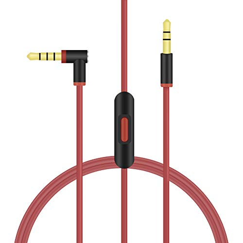 NSEN Replacement Cable Wire Compatible with Beats Headphones Studio Solo Pro Detox Wireless Mixr Executive Pill with in Line Mic and Control 1.4meters/4.59feet (Black Red)
