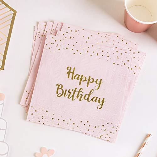 Rosa Geburtstag Servietten HAPPY BIRTHDAY Folie Gold 20 Papierservietten Mädchen Geburtstag Partyzubehör