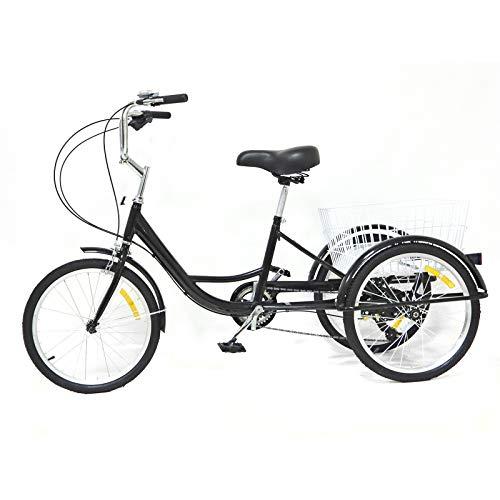 Triciclo de 20  24 pulgadas, 3 ruedas, para adultos, triciclo con cesta, 8 velocidades (24 pulgadas, 8 marchas), color negro