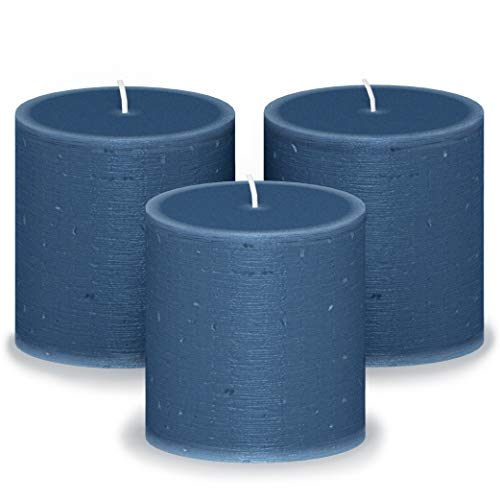 CANDWAX 3x3 Pillar Candle Set of 3 - Decorative Candles Unscented and No Drip Candles - Ideal as Wedding Candles or Large Candles for Home Interior - Dark Blue Candles