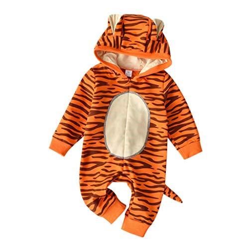 OPAKY Bebé Recién Nacido Bebé Niñas Niños Dibujos Animados Tigre con Capucha Romper Mono Trajes Ropa de Invierno Ropa de Dormir