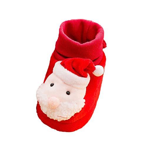 Jaysis Xmas Baby Anti Rutsch Schuhe Weihnachten Jungen Mädchen Weiche Sohle Freizeitschuhe Weihnachtsmann Schneemann Elch Schuhe Elastisches Tuch Kinderschuhe