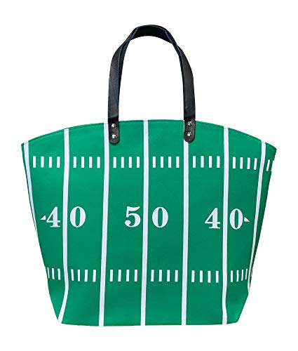 BallPark Leather XL Green Football Canvas Tote Bag