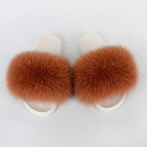 N/W Zapatos de Playa para Mujer, Pantuflas de Felpa navideñas, Chanclas para Zapatos Casuales de Playa-Caramel_40-41