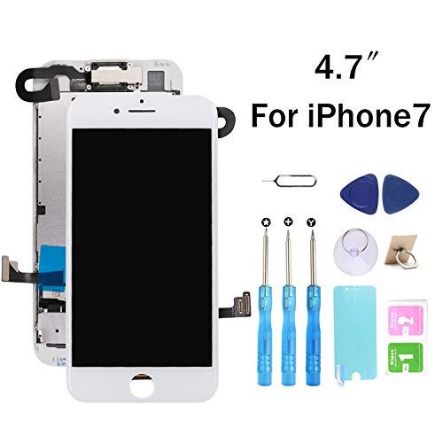 recyco Display LCD Schermo per iPhone 7 Bianco (4,7 Pollici) Touch Screen Digitizer Parti di Ricambio (con Fotocamera, Altoparlante, Sensore Flex) Utensili Inclusi