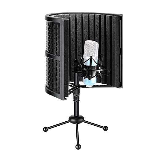 Neewer Escudo Aislamiento Micrófono Compacto de Mesa con Soporte para Trípode, Espuma Absorbente de Sonido de Micrófono para Grabación de Estudio(No Incluye Micrófono ni Soporte)