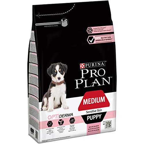 PURINA Pro Plan Comida Seco para Cachorro Mediano con Piel Sensible Optiderma, Sabor Salmón - 3 Kg