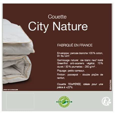 Lestra - LLL0001019 - Couette CITY NATURE 300 G/M2 - 70% duvet d'oie blanc neuf - Taille: 240x220 - 1600g