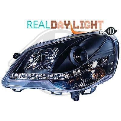2205886, 1 paar koplampen Daylight DRL LED zwart voor Polo 9N van 2005 tot 2009