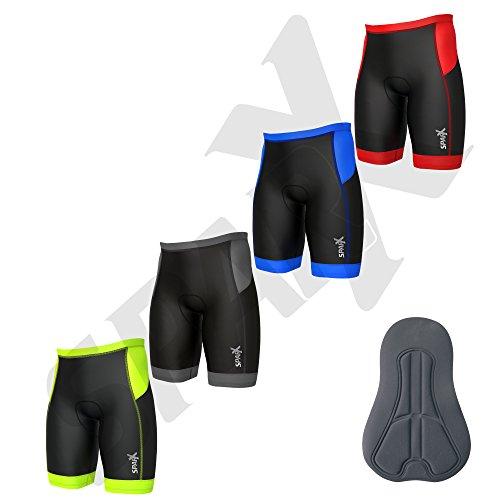 Sparx Men's Core Triathlon Short Tri Short Swim Bike Run Cycling Short (Black/Red, Medium)