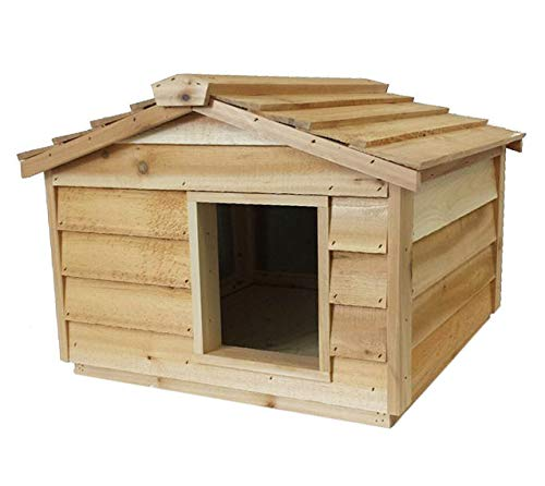CozyCatFurniture Insulated Cedar Cat House for Outdoor or Feral Cats Waterproof Cat Shelter