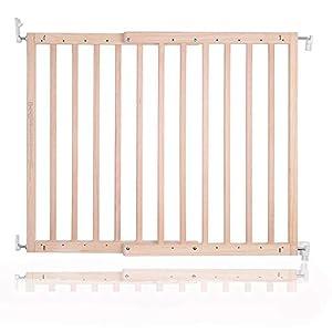 Safetots - Puerta de escalera de madera gruesa con rosca (63,5 a 105,5 cm)