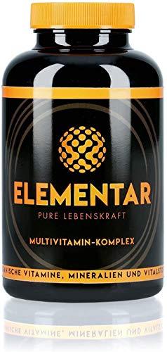 ELEMENTAR   Complejo multivitamínico  Altamente dosificado Naturales y orgánicos  Vitaminas, antioxidantes, minerales, sustancias vitales, aminoácidos, 300 cápsulas,Made in Germany