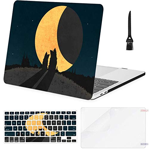 MacBook Pro 15inch Retina(2013-2015) with Retina Display,A1398 Case,Plastic Silhouette Two Dogs Sitting Grass On Hard Shell Case with Keyboard Cover & Screen Protector & Cleaning Brush