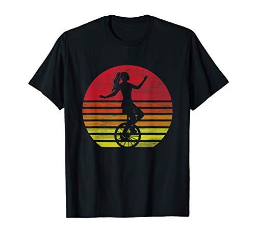 Retro Einrad Mädchen Silhouette T-Shirt