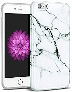Worldmom Phone Case for iPhone 6S Plus, iPhone 6 Plus Case White and Black Marble Design Slim Fit Thin Soft Silicone Anti-Scratch Shock Proof Protective Phone cover