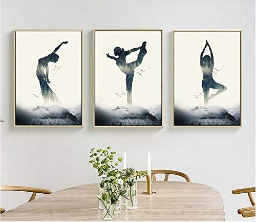 NO BRAND Figura de Yoga Moderna Silueta Lienzo Arte impresión Pintura Cartel Pared Cuadros para Sala de Estar decoración del hogar 30cm x40cm x3p sin Marco