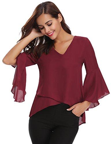 Damen Chiffon Bluse 3/4 Arm Tunika Blusen V Ausschnitt Leicht Asymmetrisch Shirt mit Volant Trompetenärmeln