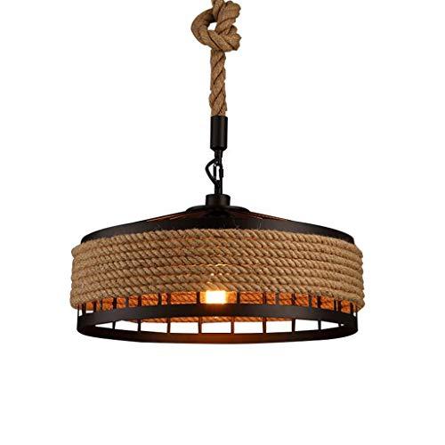 XIN\'S Vintage Pendelleuchte Retro schwarz Pendellampe Hanfseil Industrie Kronleuchter Anhänger Schmiedeeisen Lüster LED E27 Edison Lichtquelle Hängeleuchte kommerzielle Beleuchtung Hängelampe,Ø40cm