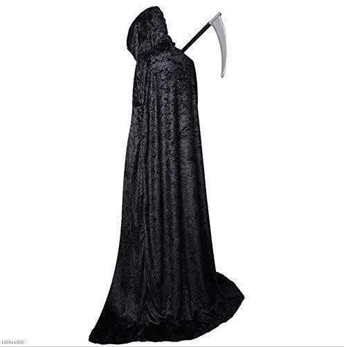 chen Halloween Fluwelen Kostuum Zwarte Mantel COS Vampier Kleding Volwassen Mantel Zwarte Dood Wizard Robes Suit, Beste Halloween Decoratie Prop