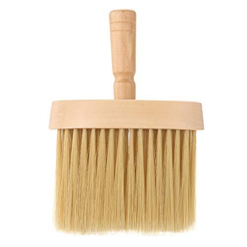 Peluquería Cuello plumero Cepillo facial Salón Limpieza del cabello Cepillo de barrido de madera Nylon Extender Mango Cepillos profesionales para cortar el cabello