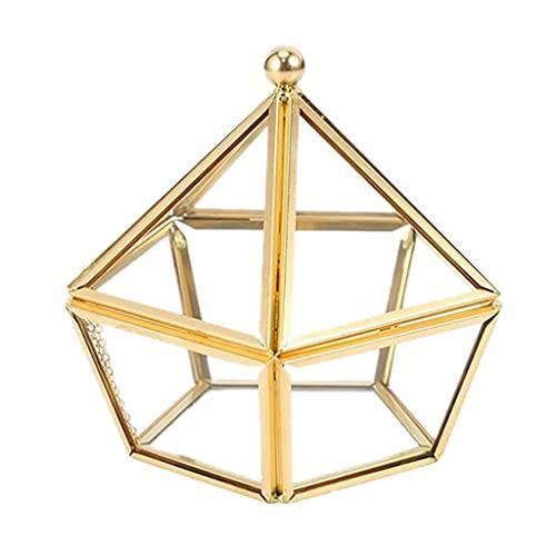 W-HUAJIA Caja de Anillo de Vidrio Caja de joyería de Boda Cubierta de Cristal de Flores inmortales Decoración de la casa Creativa