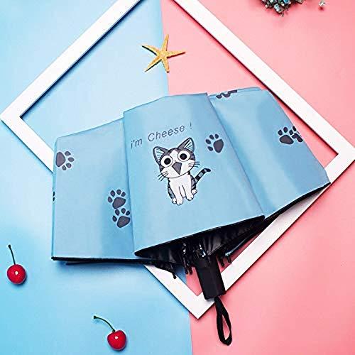 ZHYGDQ Kreative Kinder Regenschirm Kinder Cartoon Regenschirm Sonnencreme Schwarze Pfote Katze Beschichtung 3 Mädchen Faltschirm Großhandel Kinder Regenschirm (Farbe: blau)
