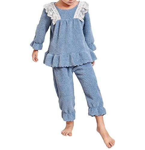 Kinder Baby Mädchen Flanell Schlafanzug Spitze Rüschen Sweater Top Pyjamashose...