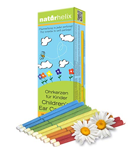 Naturhelix Kinder-Ohrenkerzen mit Kamillenöl – handgefertigt - Ohrkerzen für Kinder aus Bienenwachs in Regenbogenfarben mit Überraschung - 10 Stk.