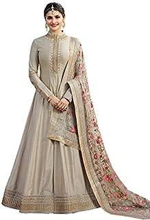 CLUB96 Women's Faux Georgette Indian Pakistani Anarkali Salwar Suit (Silver, Free Size)