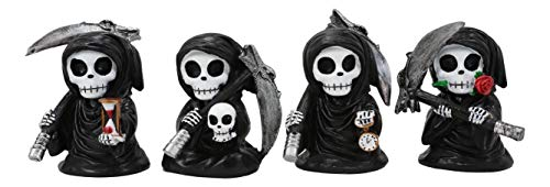 Ebros Time Waits for No Man Mini 4' Tall Chibi Grim Reapers with Scythe Holding Hourglass Skull Clock and Rose Stalk Figurines Set of 4 As Gothic Skeleton Caped Harbinger of Doom Statues