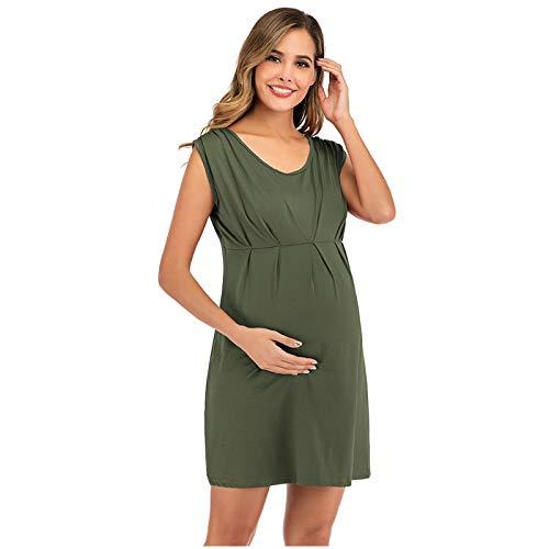 Vestido de Nursing para mujer, suelto, sin mangas, Pajamas verde XL