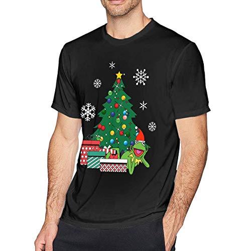 Wekrust Mens Fashion Kermit Rond De Kerstboom Muppets T-Shirt Zwart