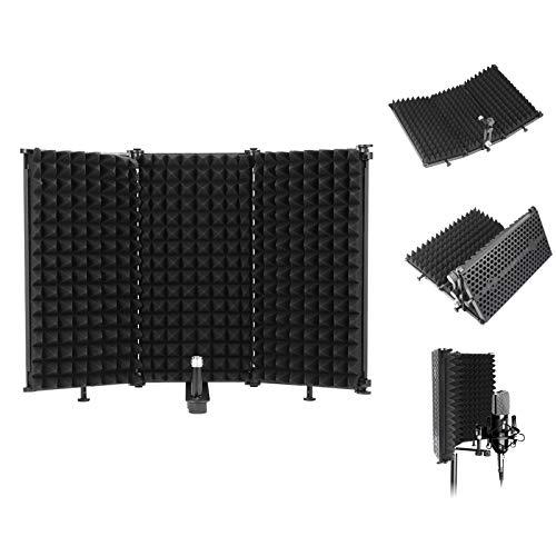 Konesky Escudo de Aislamiento de Micrófono, Reflector de Espuma Absorbente de Sonido Studio Mic Espuma Acústica EVA de Grado de Estudio (A)