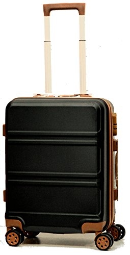 DK Luggage Starlite ABS Cabin 20' Hardshell Suitcase 4 Wheel Spinner with Tan Trimming Black