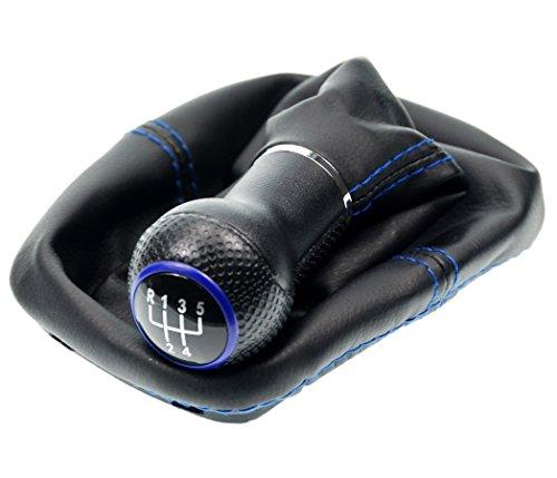 L & P Car Design L&P A0254-5 Schaltsack Schaltmanschette Schwarz Naht Blau Schaltknauf 5 Gang 12mm kompatibel mit VW Golf 2 II 3 III Polo 6N Passat 35i UVM. Schelle Plug Play Ersatzteil