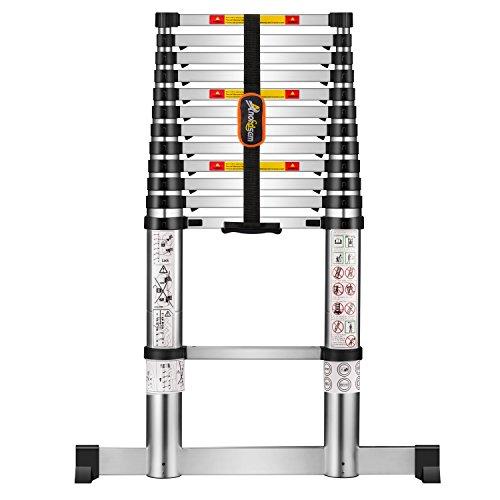 Escalera Telescópica Plegable Aluminio de 3,80M con Retracción Suave de un Toque Cumple con EN 131-6 Certificado de Seguridad Capacidad Máxima 150Kg por Anordsem